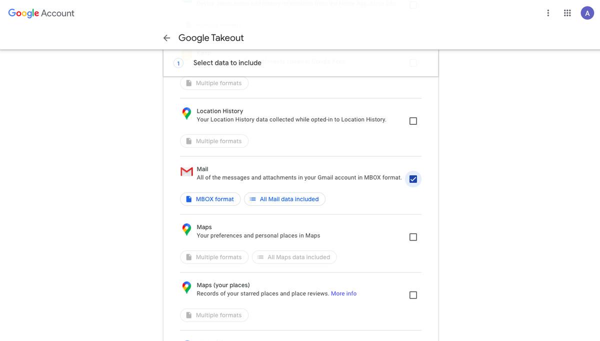 Opțiuni Google Takeout
