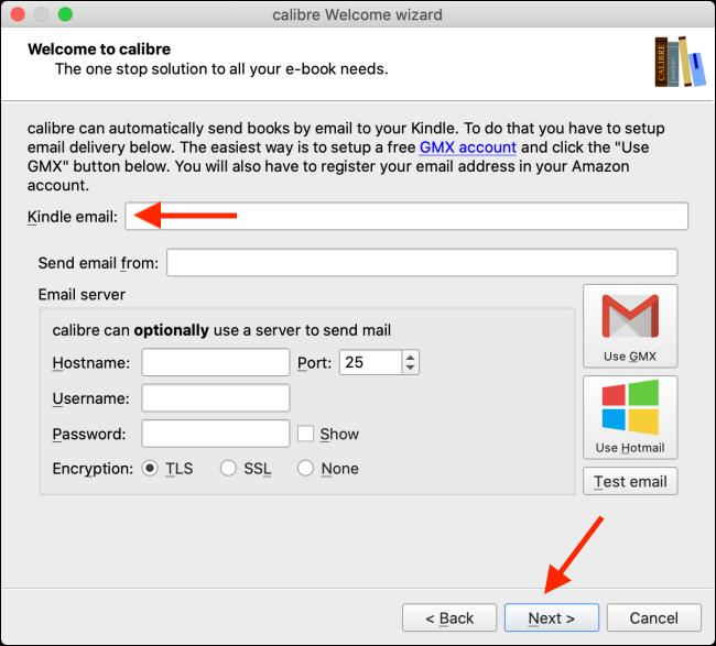 Alegeți Kindle Email și faceți clic pe Next