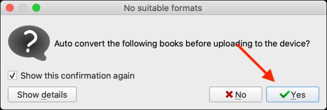 Faceți clic pe Da pentru a converti cartea