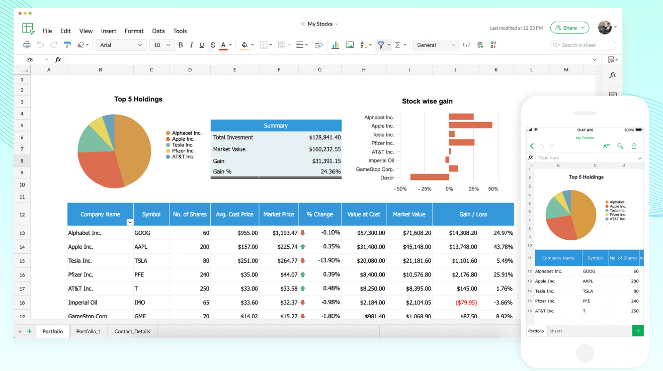 Foaie de calcul Zoho Office Sheet
