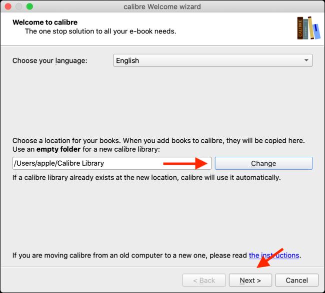 Schimbați folderul Caliber Library și faceți clic pe Next