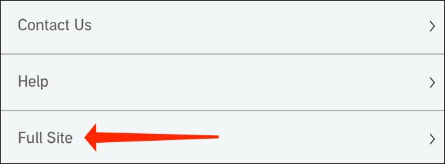 """După ce v-ați conectat la Audible pe un browser mobil, derulați în partea de jos și selectați """"Site complet."""" Aceasta va deschide versiunea desktop a site-ului Audible."""