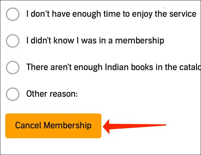 """Amazon vă va cere să furnizați un motiv pentru anulare.  Selectați orice opțiune și apoi puteți face clic pe portocaliu """"Anulați calitatea de membru"""" din nou butonul."""