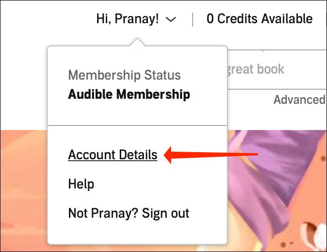 """În meniul derulant de pe site-ul desktop Audible, selectați """"Detalii cont."""""""