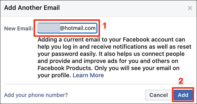 """Introduceți o adresă de e-mail în """"Adăugați un alt e-mail"""" fereastra de pe Facebook."""