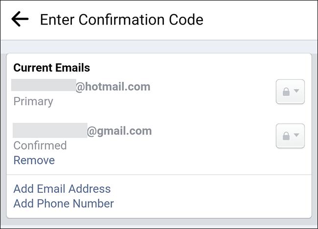 Adrese de e-mail asociate unui cont Facebook.
