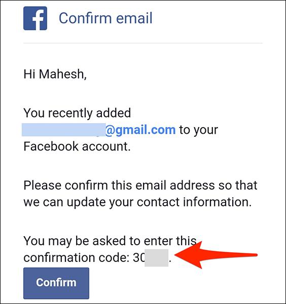 Copiați codul unic din e-mailul de confirmare Facebook.