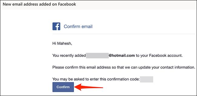 """Clic """"A confirma"""" în e-mailul de confirmare Facebook."""