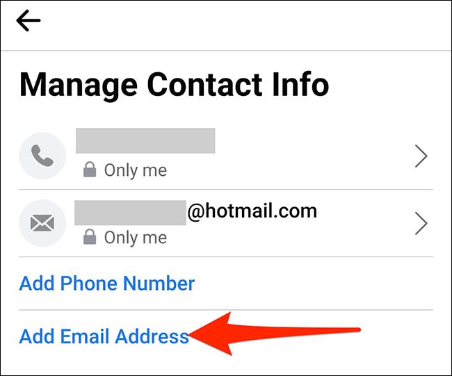 """Atingeți """"Adăugați o adresă de e-mail"""" pe """"Gestionați informațiile de contact"""" ecran în Facebook."""