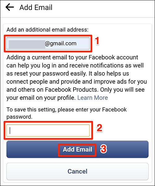 """Introduceți un e-mail și o parolă pe """"Adăugați un e-mail"""" ecran în Facebook."""