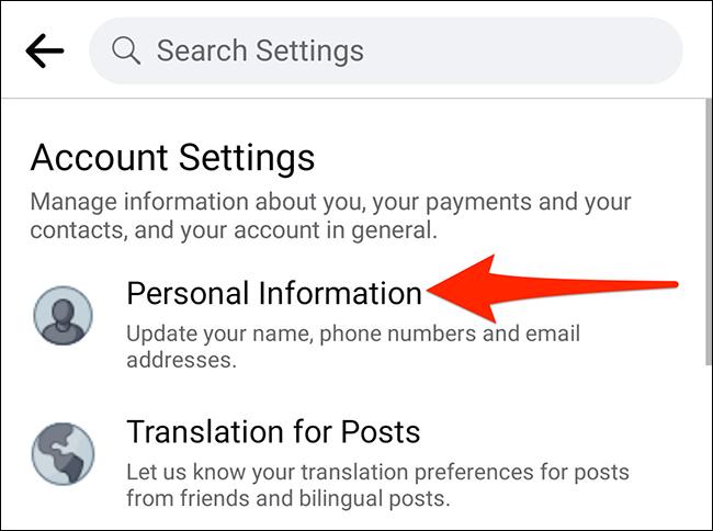 """Selectați """"Informatii personale"""" pe """"Setările contului"""" ecran în Facebook."""
