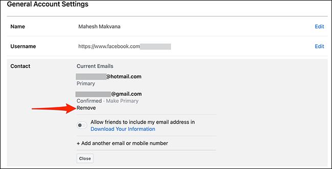 """Clic """"Elimina"""" sub o adresă de e-mail pe Facebook."""