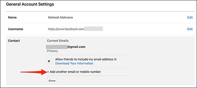 """Alege """"Adăugați un alt număr de e-mail sau mobil"""" de la """"a lua legatura"""" secțiunea de pe Facebook."""