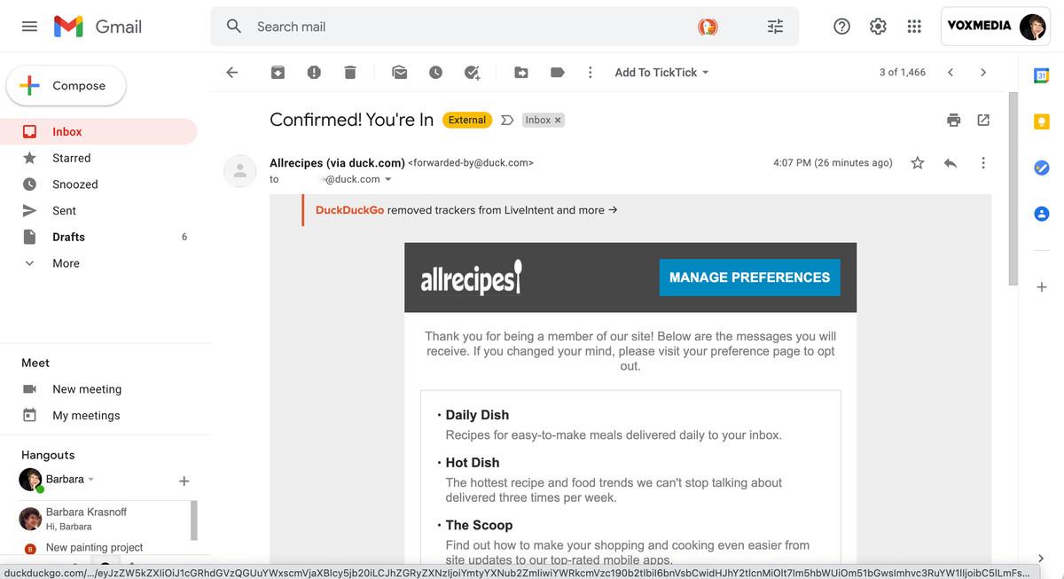 Un e-mail trimis prin DuckDuckGo va include o contabilitate a trackerelor care au fost eliminate.