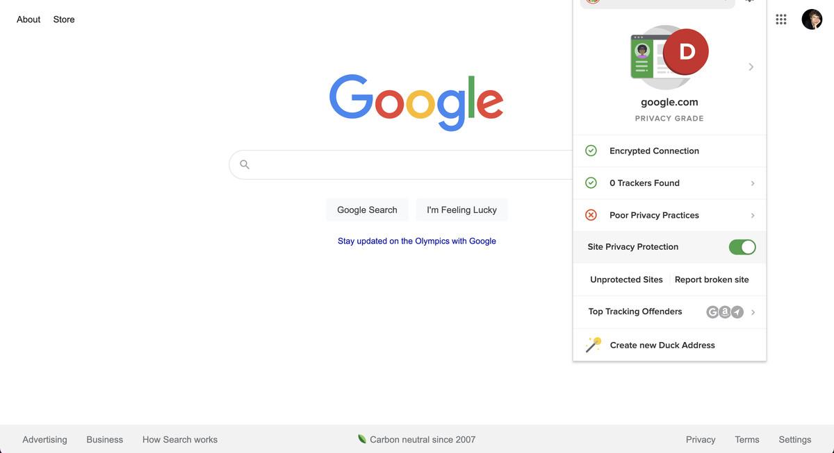 Extensia browserului evaluează și site-ul pe care vă aflați.