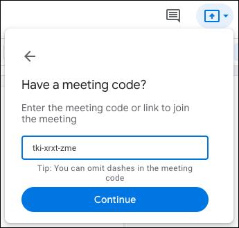Introduceți codul sau linkul și faceți clic pe Continuare