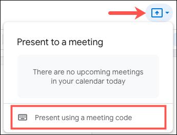 Faceți clic pe Prezentare utilizând un cod de întâlnire