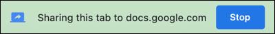 Faceți clic pe Stop pentru a opri prezentarea unui document