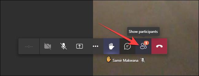 """Pentru versiunea web Microsoft Teams, faceți clic pe """"Participanți"""" pe bara de jos."""