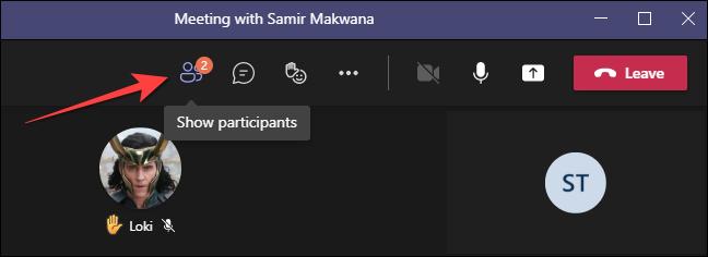 """În timpul unui apel video pe desktopul Microsoft Teams, selectați """"Participanți"""" butonul din partea de sus."""