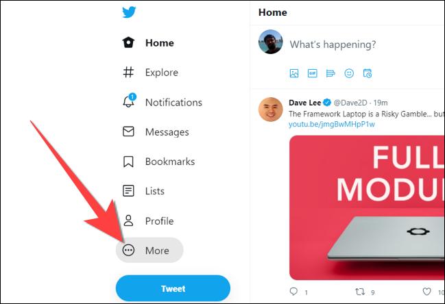 """Apasă pe """"Mai mult"""" butonul de pe site-ul Twitter."""