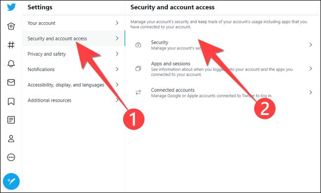 """În Setări, faceți clic pe """"Securitate și acces la cont."""" atunci """"Securitate."""""""