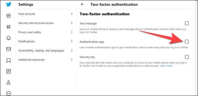 """Bifați caseta pentru """"Aplicație de autentificare."""""""