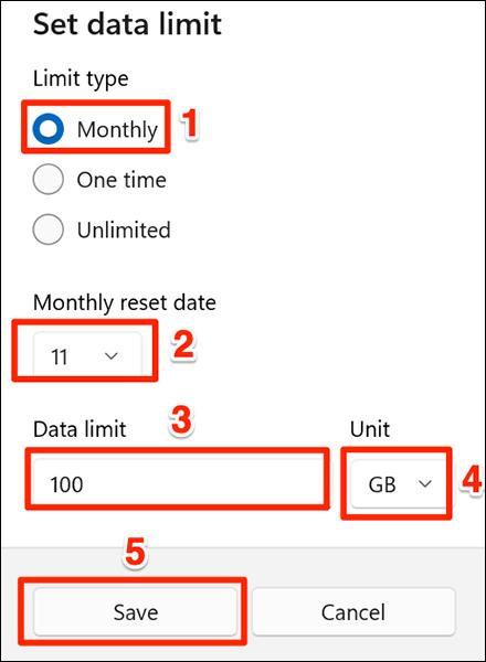 """Selectează """"Lunar"""" opțiunea de limitare a datelor din Setări pe Windows 11."""