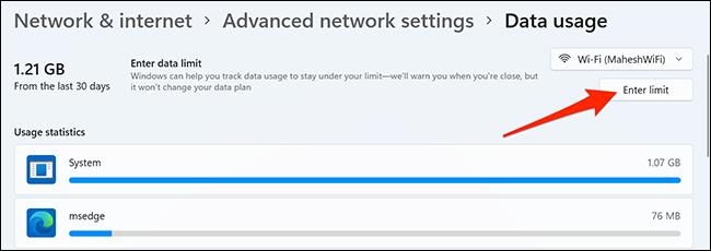 """Clic """"Introduceți limita"""" în Setări pe Windows 11."""
