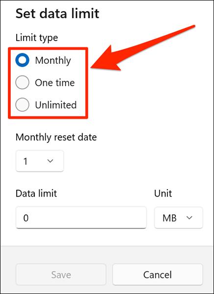 Selectați o opțiune de limită de date în Windows 11.