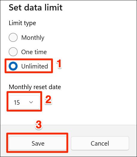 """Alege """"Nelimitat"""" opțiunea de limitare a datelor din Setări pe Windows 11."""