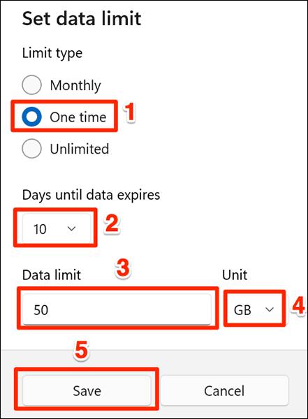 """Selectează """"O dată"""" opțiunea de limitare a datelor din Setări pe Windows 11."""