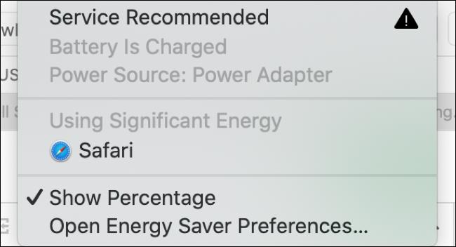 Exemplu de avertisment energetic semnificativ pentru macOS