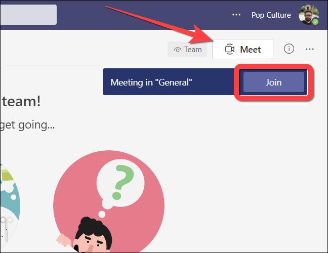 """Apasă pe """"Faceți cunoștință acum"""" pentru a crea o nouă întâlnire sau """"A te alatura"""" pentru a vă alătura unei întâlniri existente în Microsoft Teams pentru web."""