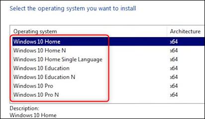 Faceți clic pe sistemul de operare pe care doriți să îl instalați.