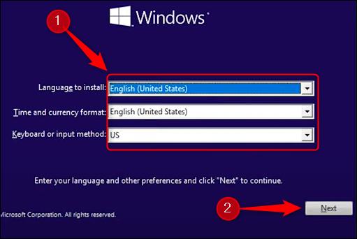 Alegeți limba de instalat, formatul orei și monedei, tastatura și metoda de introducere.