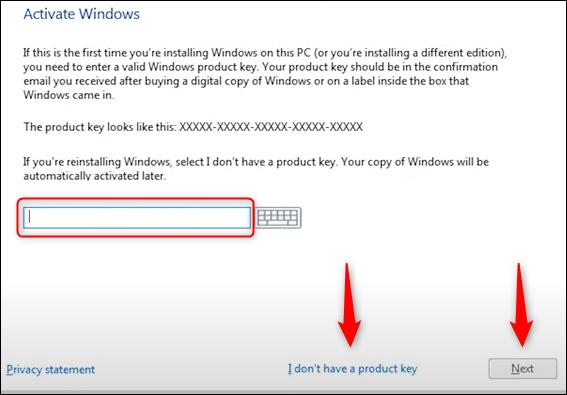 Introduceți sau nu cheia de produs și faceți clic pe următor sau nu am o cheie de produs.