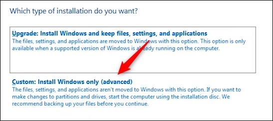 Faceți clic pe Instalare personalizată