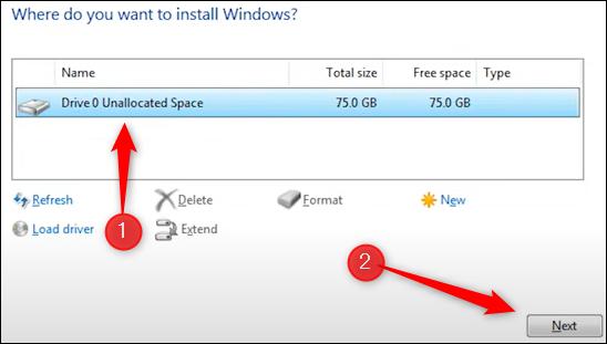 Selectați unitatea pe care doriți să instalați Windows.