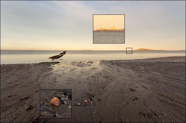 Un exemplu de stivuire a focalizării cu imagini clare atât în apropiere, cât și în depărtare