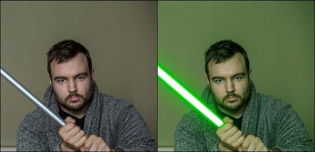 Înainte și după compararea efectului digital al sabiei laser