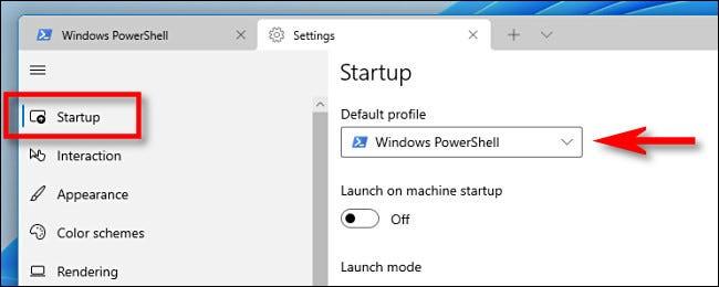 """Selectați """"Lansare,"""" apoi faceți clic pe """"Profil implicit"""" meniul derulant."""