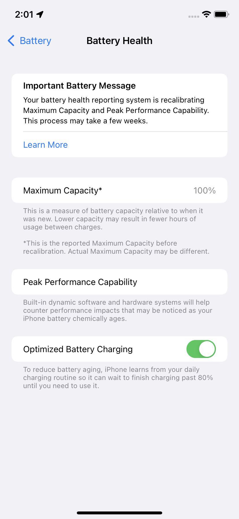 """Pagina """"Sănătatea bateriei"""" vă va informa dacă trebuie să înlocuiți bateria."""