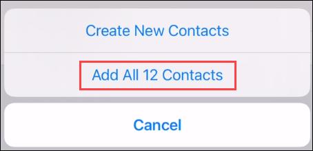 """A confirma """"Adăugați toate persoanele de contact."""""""