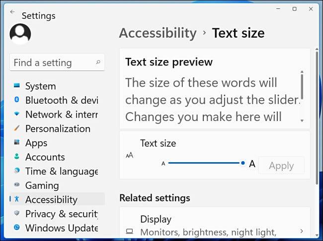 Un exemplu de text pentru Windows 11 la 200%.