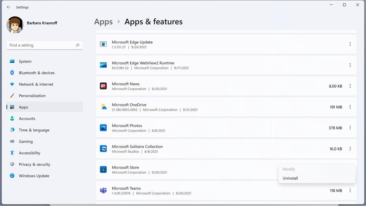 De asemenea, puteți dezinstala aplicațiile accesând Configurare.