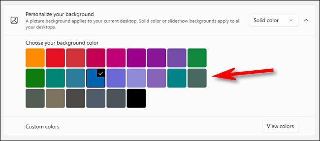 """Cu """"Culoare solida"""" opțiune, faceți clic pe o culoare din grilă."""