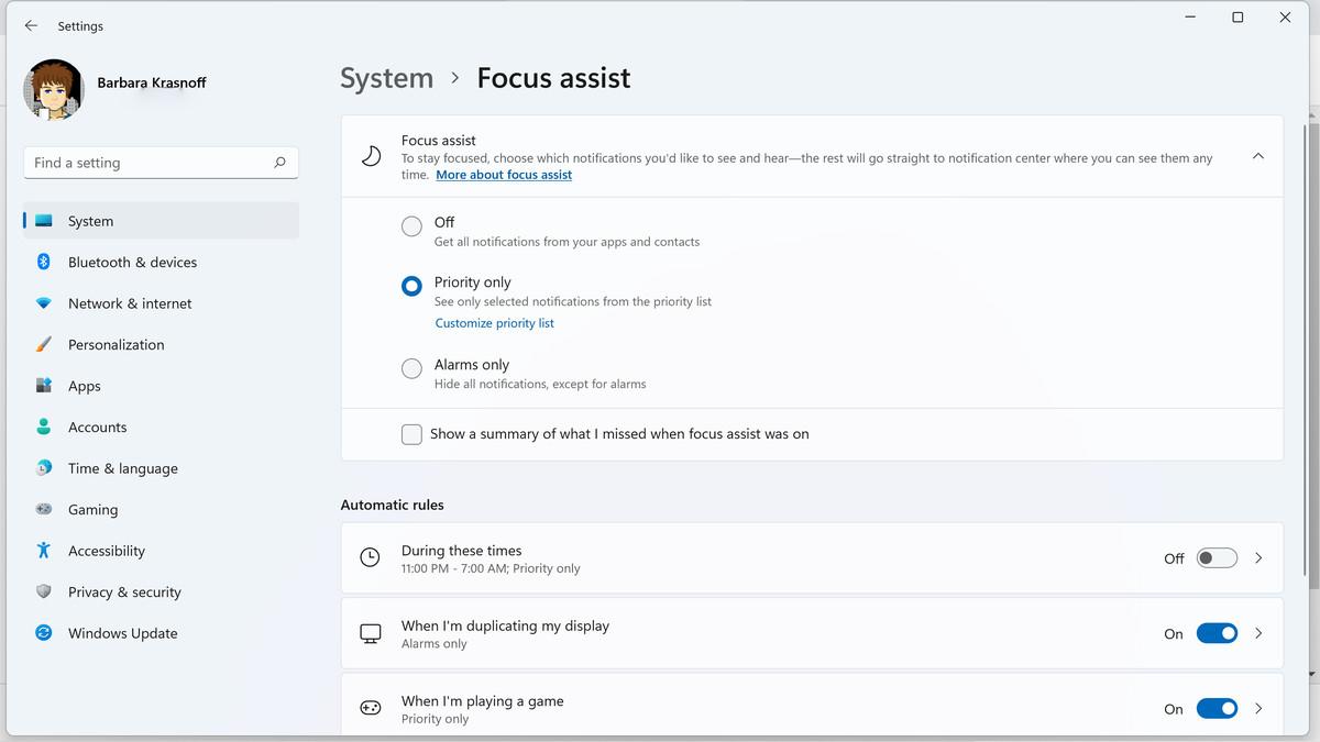 În setările de sistem, puteți decide când doriți să activați asistența Focus și pentru ce notificări.