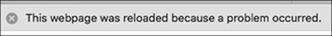 """Exemplu de Safari """"pagina web a fost reîncărcată"""" Eroare"""