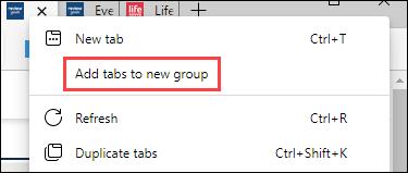 """Faceți clic dreapta și selectați """"Adăugați file la grupul nou."""""""